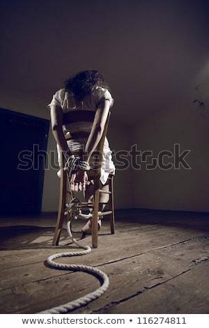 yukarı · kadın · üzücü · cilt · beyaz · halat - stok fotoğraf © gemenacom