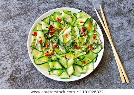 Cetriolo insalata verde piatto colazione forcella Foto d'archivio © yelenayemchuk