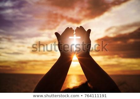 Cristianismo cruz agujero corte cartón humo Foto stock © Stocksnapper