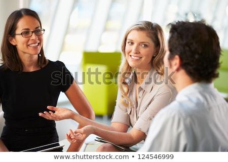 会議 · 周りに · 表 · 現代 · オフィス - ストックフォト © deandrobot