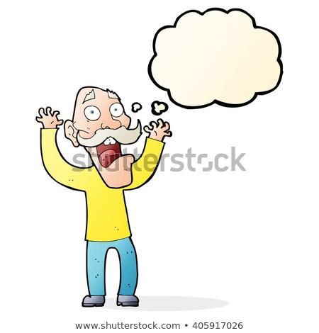 Desenho animado velho medo balão de pensamento mão homem Foto stock © lineartestpilot