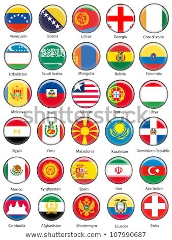 Térkép zászló gomb köztársaság Üzbegisztán vektor Stock fotó © Istanbul2009