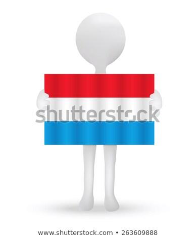 Mały mężczyzna 3d banderą Luksemburg wektora Zdjęcia stock © Istanbul2009
