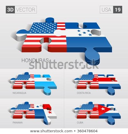 USA Panama Fahnen Puzzle Vektor Bild Stock foto © Istanbul2009