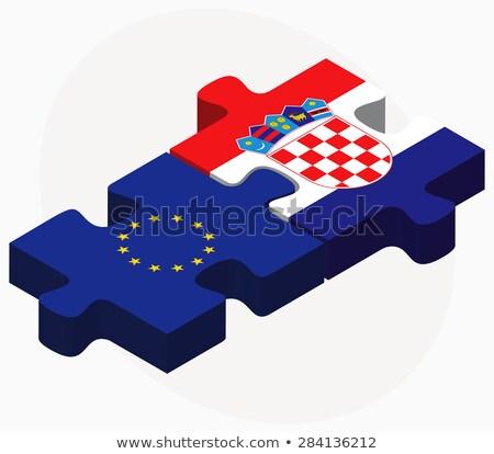 Europese unie Kroatië vlaggen puzzel geïsoleerd Stockfoto © Istanbul2009