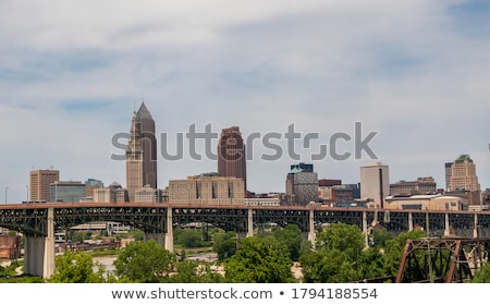 Cleveland downtown on cloudy day Stock photo © alex_grichenko
