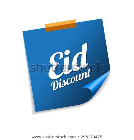 eid discount blue sticky notes vector icon design stock photo © rizwanali3d