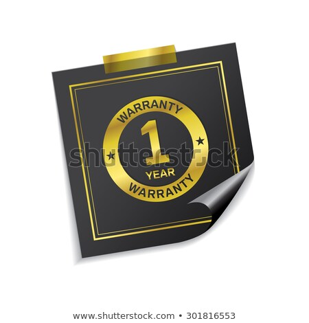 1 Year Warranty Golden Sticky Notes Vector Icon Design Stock photo © rizwanali3d