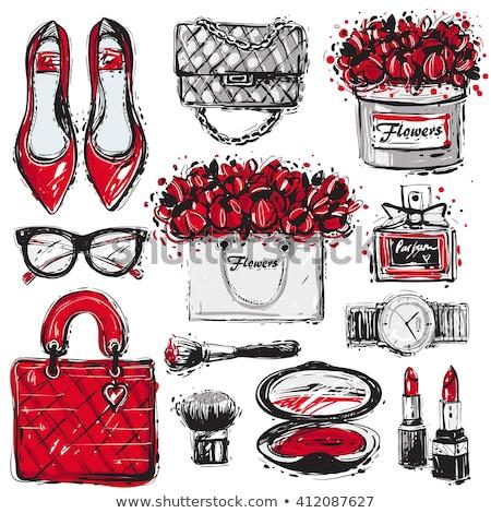 Vermelho mulheres saco rosa vermelha isolado branco Foto stock © tetkoren