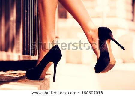 черный · обуви · кожа · женщину - Сток-фото © nneirda
