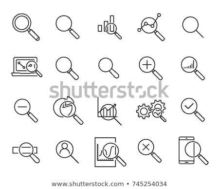 ストックフォト: 虫眼鏡 · 棒グラフ · ビジネス · 金融 · アイコン · 単純な
