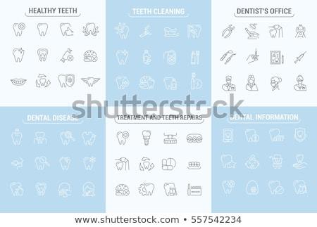 Fogápolás ikon szimbólum orvosi terv száj Stock fotó © djdarkflower