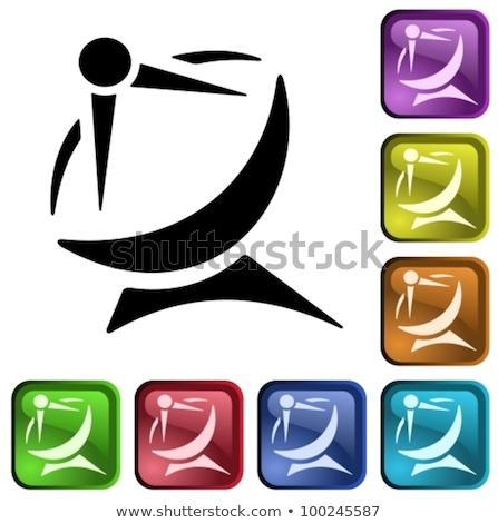 Imzalamak mor vektör ikon düğme Stok fotoğraf © rizwanali3d