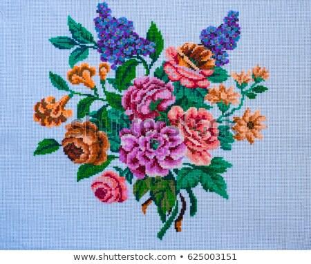 старые холст восточных цветок текстуры бумаги Сток-фото © ezggystar