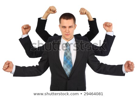 Young businessman with six fists Stock photo © Paha_L
