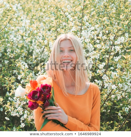 pretty girl with tulips stock photo © vapi