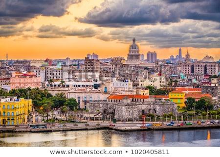 Foto stock: La · Habana · Cuba · horizonte · ciudad · edificio · azul
