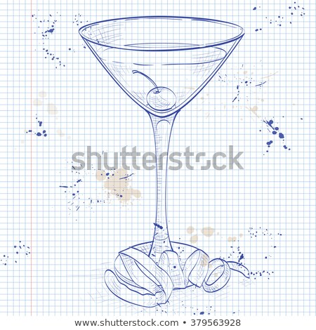 Tuxedo cocktail on a notebook page Stock photo © netkov1