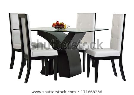 Glas eettafel stoelen voedsel vruchten metaal Stockfoto © Digifoodstock