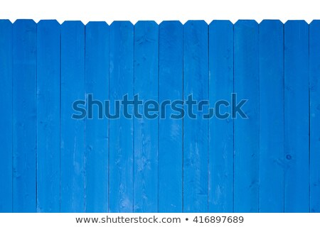 Colorful bright blue stained wooden picket fence Stock photo © ozgur