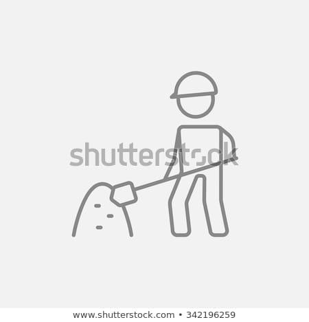 Człowiek łopata Hill piasku line ikona Zdjęcia stock © RAStudio