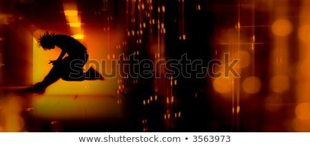 abstract · teen · silhouet · tiener · permanente · achtergrond - stockfoto © kwest