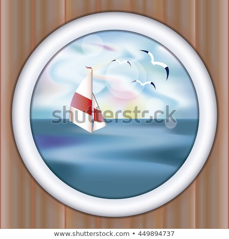Underwater ship porthole wallpaper with yacht, vector illustration Stock photo © carodi