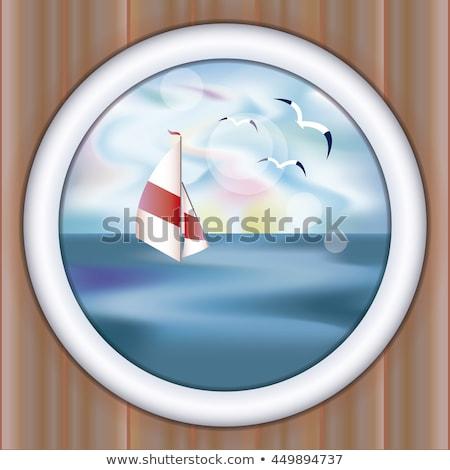 Underwater ship porthole wallpaper with yacht, vector illustration Stock photo © carodi