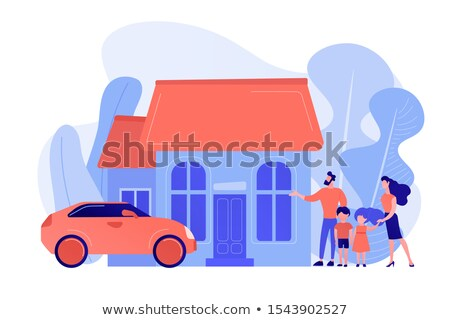 A single detached pink house Stock photo © bluering