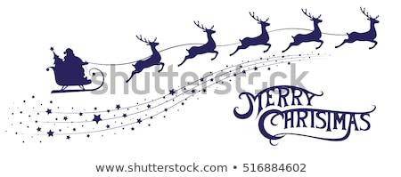 silhouet · kerstman · paardrijden · rendier · herten · sneeuwvlokken - stockfoto © romvo