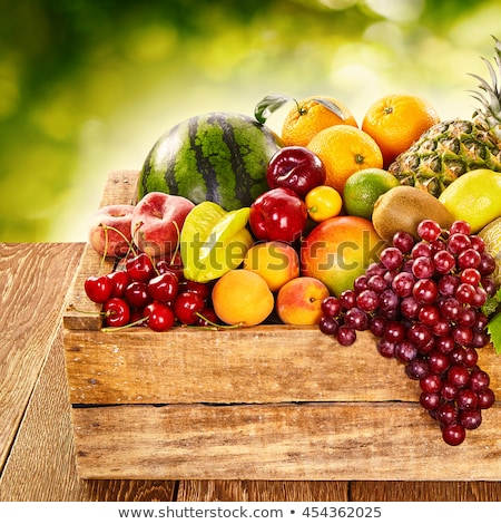 Crates with various sorts of apple fruit on farmers market Stock photo © stevanovicigor
