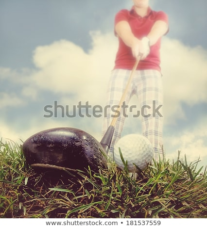 Golfer in retro pants practicing Stock photo © njnightsky