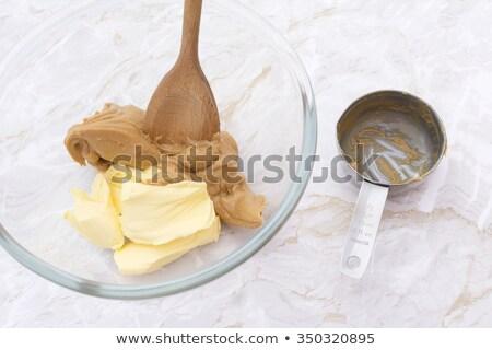 Tál koszos mogyoróvaj fából készült föld egészséges Stock fotó © Digifoodstock