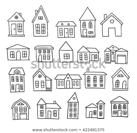 Doodle huis hand icon zwart wit symbool Stockfoto © pakete
