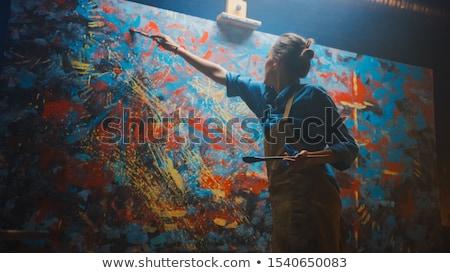 アーティスト 想像力 座る 先頭 丘 ストックフォト © psychoshadow