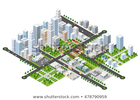 vector set of isometric city objects stock photo © curiosity