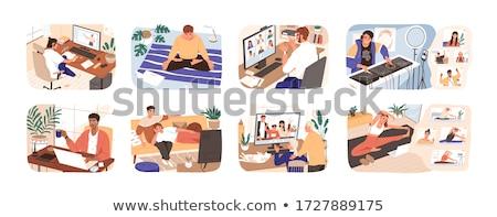 Vektor stílus illusztráció idős férfi jóga Stock fotó © curiosity