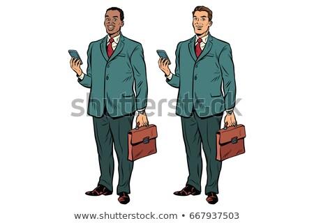 два жира бизнесменов афроамериканец кавказский человека Сток-фото © studiostoks