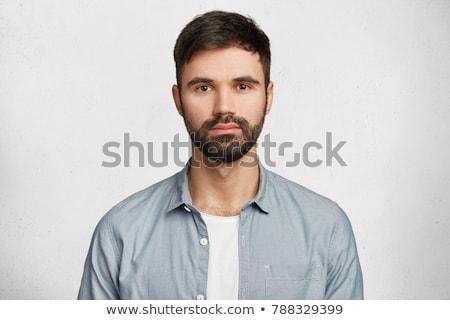 魅力的な 深刻 男 シャツ ポーズ 写真 ストックフォト © deandrobot
