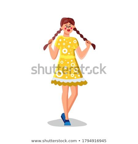 幸せ 若い女性 笑い 髪 尾 白 ストックフォト © feedough