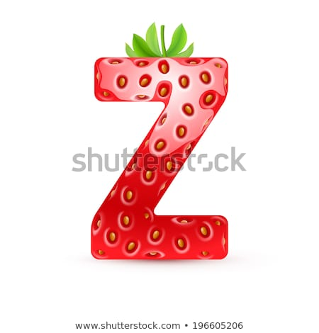 Letter Z Strawberry font. Red Berry lettering alphabet. Fruits A Stock photo © popaukropa