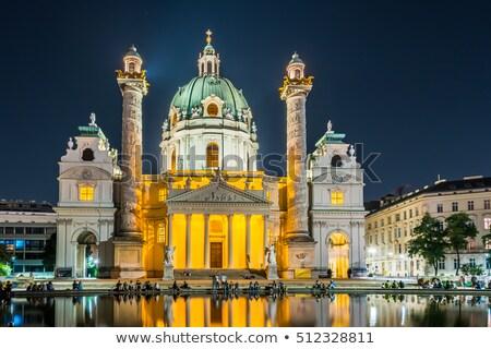 verlicht · barok · Wenen · nacht · Oostenrijk · kerk - stockfoto © manfredxy