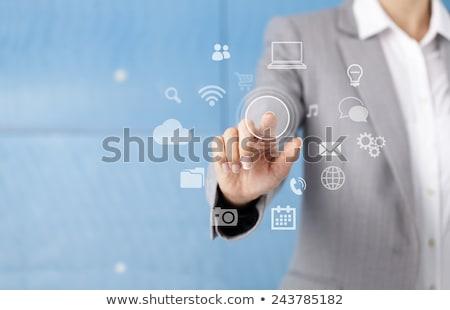 Közelkép női ujj toló digitális tabletta Stock fotó © stevanovicigor