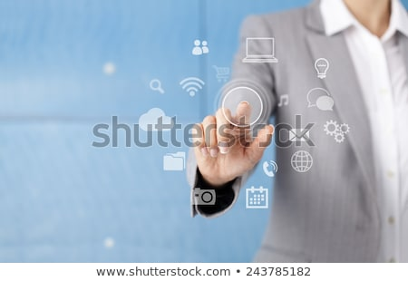 Feminino dedo empurrando digital comprimido Foto stock © stevanovicigor