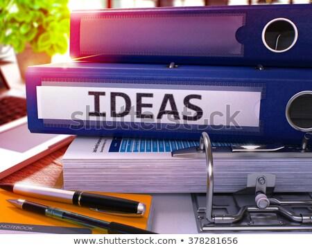 Niebieski biuro folderze napis nowego pomysły Zdjęcia stock © tashatuvango