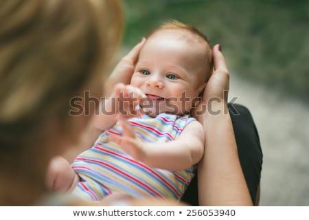 Aanbiddelijk prachtig baby groene ogen portret outdoor Stockfoto © zurijeta