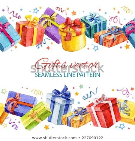 vector watercolor illustration of gift box stock photo © sonya_illustrations