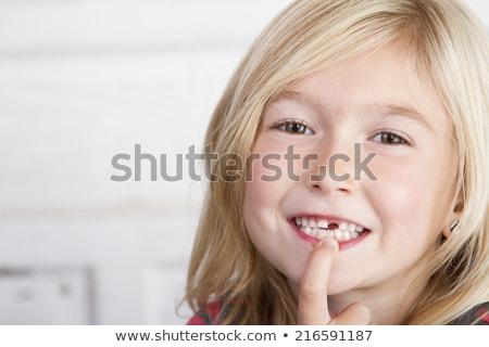 fehlt · Zähne · Mund · glücklich · öffnen · Milch - stock foto © is2