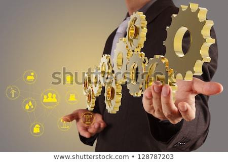 Engineering Dienstleistungen golden Zahnräder 3D metallic Stock foto © tashatuvango