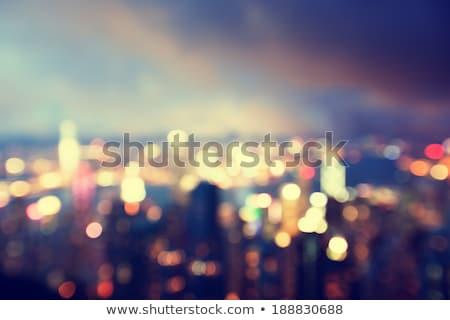 Wazig City Night bokeh mooie abstract gebouwen Stockfoto © denbelitsky